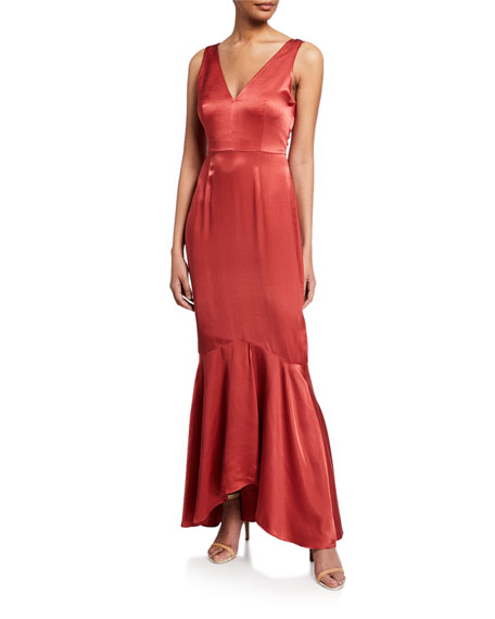 Donna Mizani  FLORENCE V-NECK SLEEVELESS SATIN MERMAID GOWN