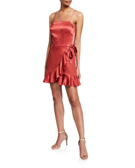 Donna Mizani Dresses ANTONIA FAUX WRAP SPAGHETTI-STRAP RUFFLE MINI DRESS