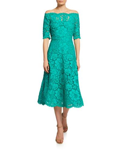Lace Off-the-Shoulder Scallop Dress