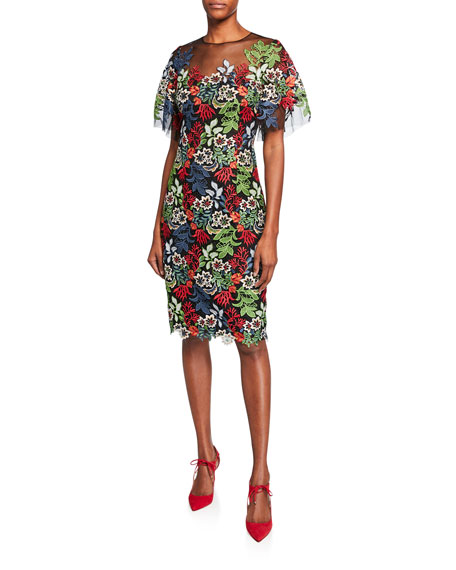 Rickie Freeman For Teri Jon Dresses FLORAL LACE FLOUNCE-SLEEVE SHEATH DRESS W/ TULLE YOKE