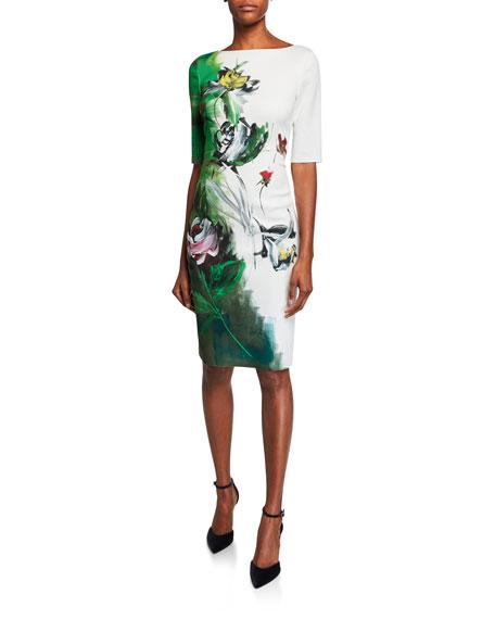 Rickie Freeman For Teri Jon Dresses BORDER-PRINT BATEAU-NECK ELBOW-SLEEVE SCUBA DRESS