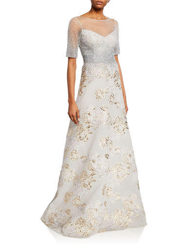 Elbow-Sleeve A-Line Gown w/ Beaded Top & Jacquard Burnout Skirt