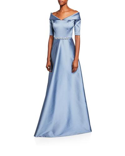 Off-the-Shoulder Elbow-Sleeve Stretch Gazar Gown w/ Beaded Waist