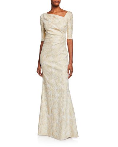 Draped Jacquard Half-Sleeve Gown