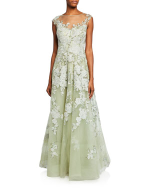 c74da4a20d Rickie Freeman for Teri Jon High-Neck Cap-Sleeve Embellished Tulle Gown w