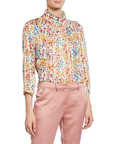 room floral-print mock-neck button-front 3/4-sleeve top