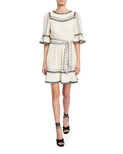 Plaza Embroidered Short Dress
