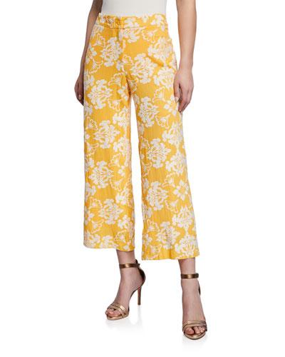 Malaga Cropped Jacquard Pants