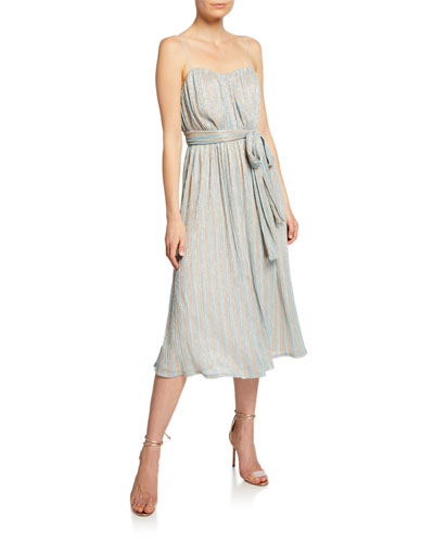 Alcantara Striped Metallic Dress