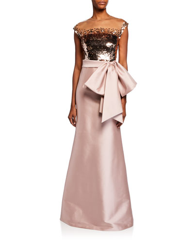 Elisa Cap-Sleeve A-Line Gown with Sequin Top & Bow Detail