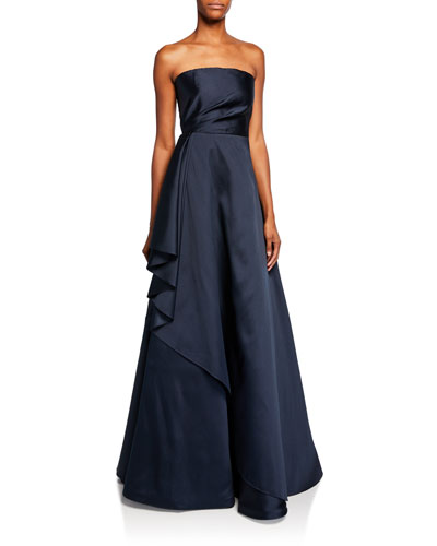 Lou Strapless Satin Bustier Gown with Side Ruffle Detail