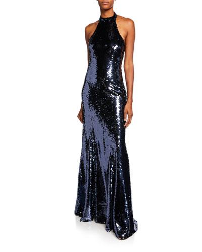 Eva Sequin Open-Back Halter Gown