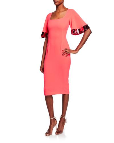 Harper Square-Neck Dress w/ Sequin Embellished Sleeves