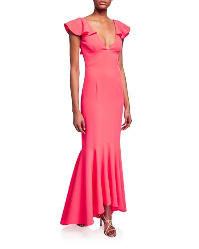 Mason V-Neck Ruffle-Sleeve Bodycon Gown