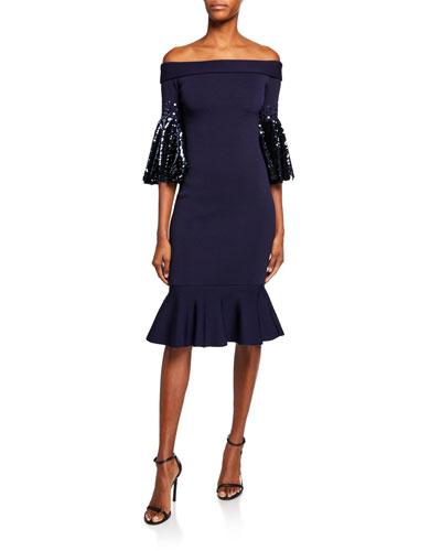 Amelia Off-the-Shoulder Sequin-Sleeve Knit Dress