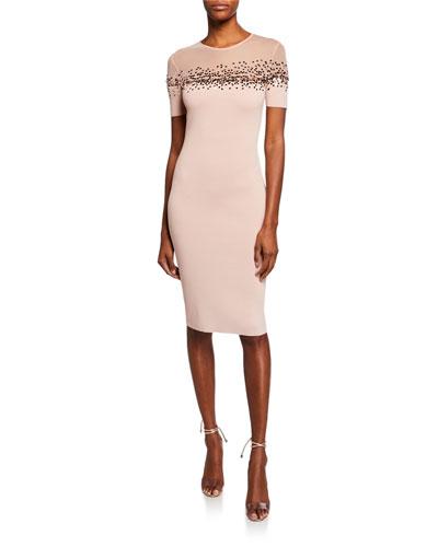 August Short-Sleeve Bodycon Dress w/ Sheer Yoke & Sequin Detail