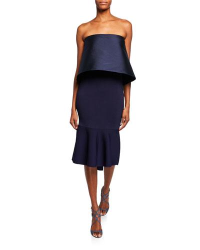 Brooke Strapless Knit Tulip Popover Dress