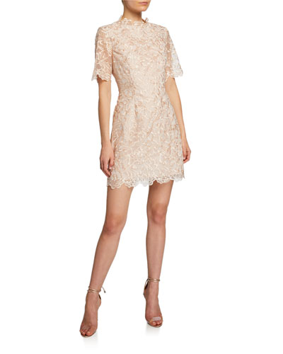 Lucena Elbow-Sleeve Scallop Lace Dress