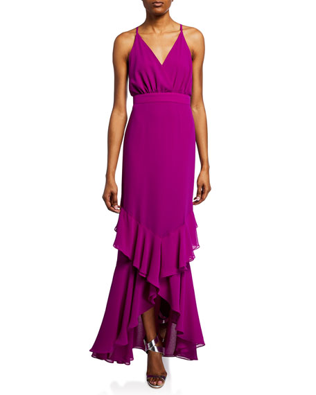 Fame And Partners  TIERED RUFFLE GEORGETTE MAXI DRESS