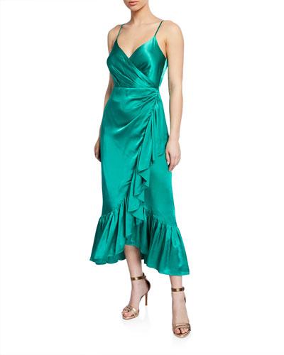 Giulia Satin Ruffle Wrap Slip Dress