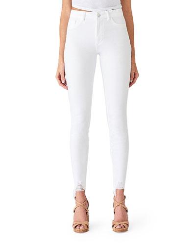 Chrissy Ultra High-Rise Skinny Jeans w/ Shredded Hem