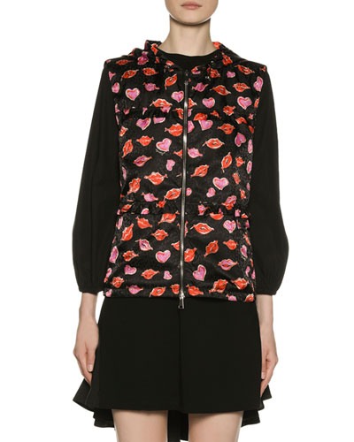Lip & Heart-Print Vest w/ Hood