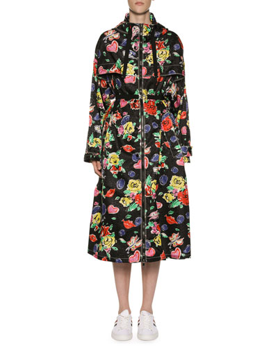 Long Heart & Flower Raincoat