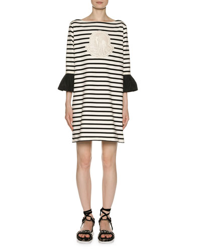 Logo Patch Striped Dress w/ Bell Cuffs