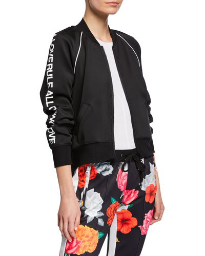 Cropped Track Jacket with Side Graphic