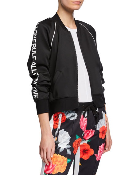 Pam & Gela Jackets CROPPED TRACK JACKET WITH SIDE GRAPHIC
