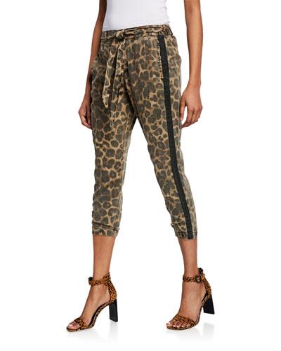 Leopard-Print Cropped Skinny Pants w/ Belt