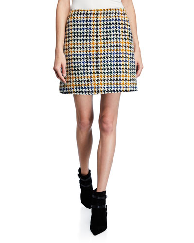 Houndstooth Topstitch Mini Skirt