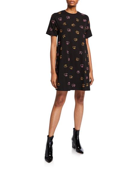 McQ Alexander McQueen Dove-Print Babydoll Dress