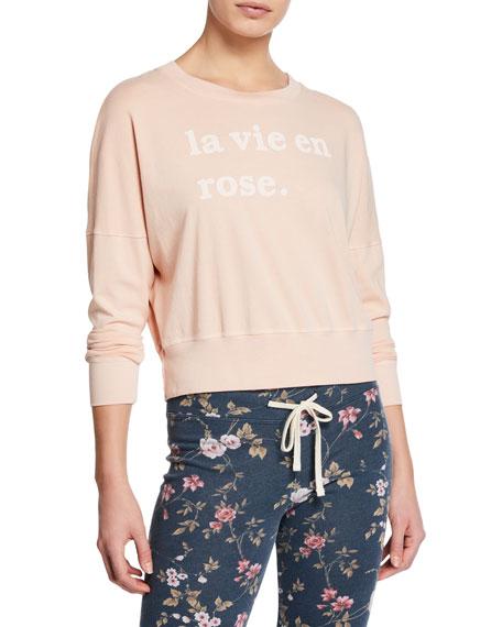 Sundry T-shirts LA VIE EN ROSE CROPPED SWEATSHIRT