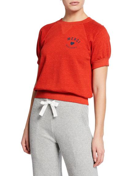 Sundry T-shirts MERCI SHORT-SLEEVE SWEATSHIRT