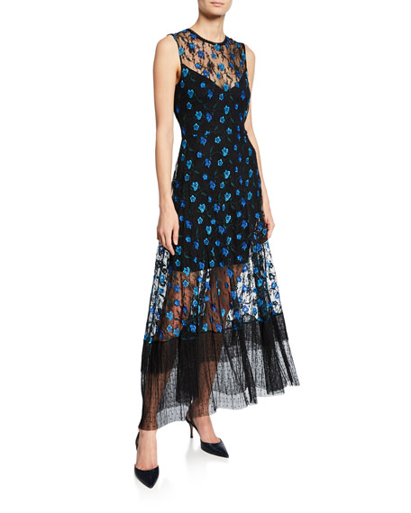 Dress The Population Dresses GINA FLORAL-EMBROIDERED SLEEVELESS FLOUNCE-HEM ILLUSION DRESS