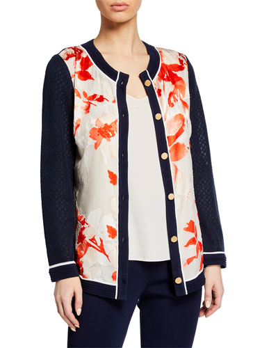 Plus Size Knit Cardigan w/ Printed Panels