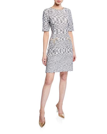 Misook Dresses HALF-SLEEVE TWEED SHEATH DRESS