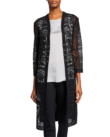 Misook Jackets LACE-PANEL LONG DUSTER JACKET