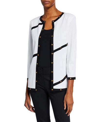 Plus Size Piped Stud-Trim Jacket