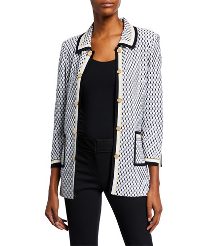 Plus Size Honeycomb Knit Collared Patch-Pocket Jacket