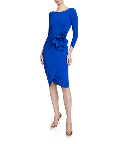 Glenaly Boat-Neck 3/4-Sleeve Dress with Apron Skirt & Flower Detail