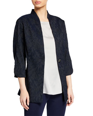 00810a7b0079 Misook Woven Textured Long Jacket w  Tulip Sleeves