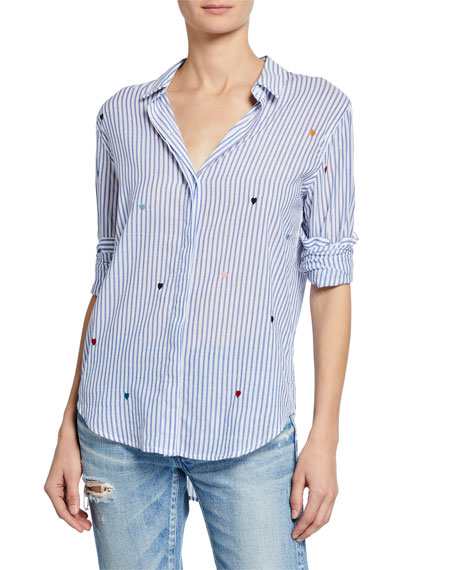 Rails T-shirts TAYLOR STRIPED HEART BUTTON-FRONT SHIRT