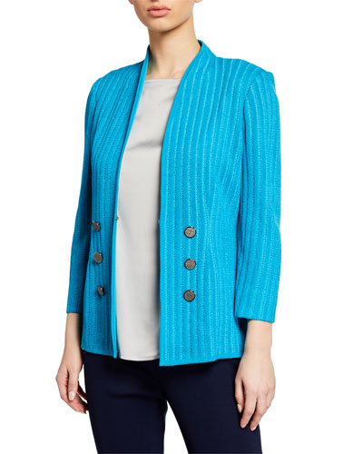 Plus Size Double-Breasted 3/4-Sleeve Textured Jacket w/ Golden Buttons