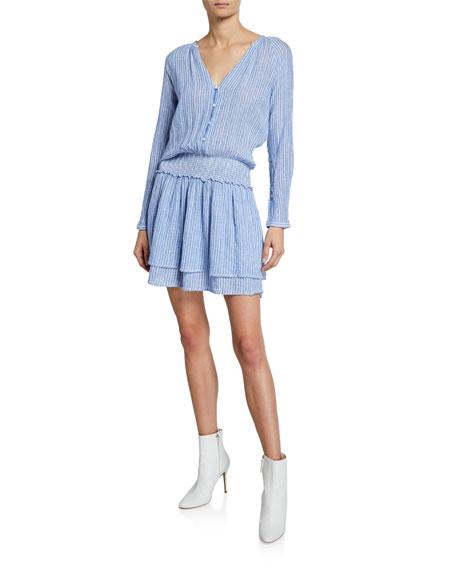 Rails Dresses JASMINE STRIPED V-NECK LONG-SLEEVE TIERED MINI DRESS