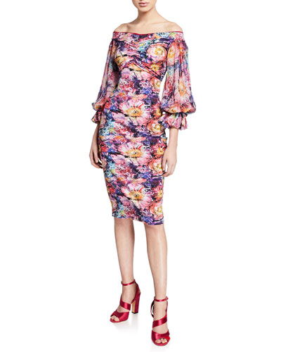 Maber Abstract Floral-Print Off-the-Shoulder Blouson-Sleeve Dress