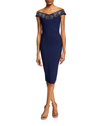Elgin Beaded Off-the-Shoulder Cap-Sleeve Sheath Dress