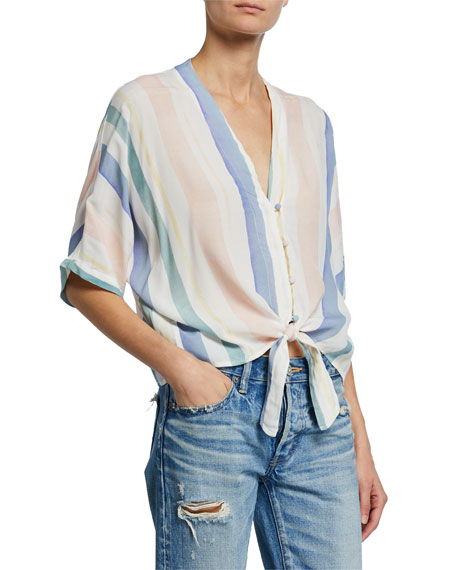 Rails Tops THEA STRIPED V-NECK HALF-SLEEVE TIE-HEM BLOUSE
