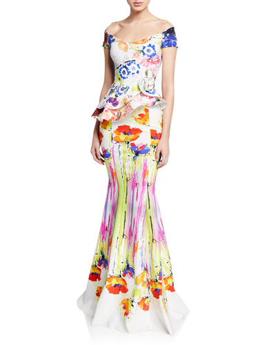 Lady Printed Off-the-Shoulder Cap-Sleeve Peplum Gown w/ Rosette